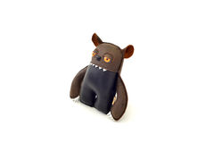 Custom handcrafted stuffed leather toy - ogre - right Royalty Free Stock Photos