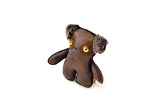 Custom handcrafted stuffed leather toy puppy - right. A cute custom handcrafted stuffed leather toy puppy Stock Photography