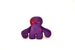 Custom handcrafted stuffed leather toy purple creature - front Royalty Free Stock Image