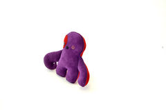 Custom handcrafted stuffed leather toy purple creature - right Royalty Free Stock Photo