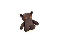 Custom handcrafted stuffed leather toy sad bear - left Stock Photos
