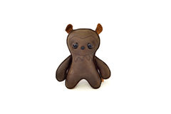 Custom handcrafted stuffed leather toy scary bear - front Stock Image