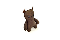 Custom handcrafted stuffed leather toy scary bear - left. A cute custom handcrafted stuffed leather toy bear Stock Image