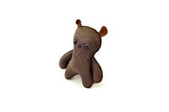 Custom handcrafted stuffed leather toy scary bear - right Royalty Free Stock Photography