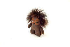 Custom handcrafted stuffed leather toy scruffy kid - right Royalty Free Stock Photography