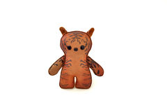 Custom handcrafted stuffed leather toy tabby cat - front Royalty Free Stock Image