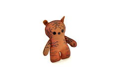 Custom handcrafted stuffed leather toy tabby cat - left Stock Photos