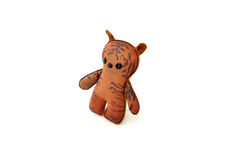 Custom handcrafted stuffed leather toy tabby cat - right Stock Photography