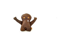 Custom handcrafted stuffed leather toy waving kid - front Royalty Free Stock Photo