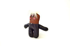 Custom handcrafted stuffed leather toy white haired runt - right. A cute custom handcrafted stuffed leather toy white haired runt Royalty Free Stock Images