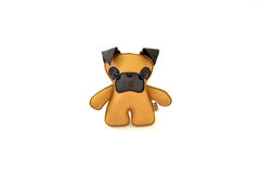 Custom handcrafted stuffed leather toy yellow terrier - front Royalty Free Stock Photography