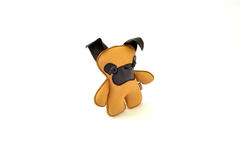 Custom handcrafted stuffed leather toy yellow terrier - left Royalty Free Stock Photography