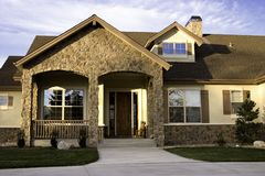 Custom Home I. Custom Home with stonework trim Royalty Free Stock Image