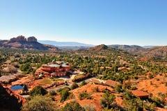 Custom home in Sedona. Aerial view of a custom hilltop luxury home in Sedona, Arizona Stock Image