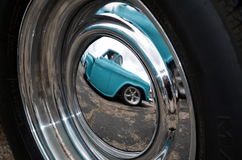 Custom hotrod wheel reflection. Stock Photo