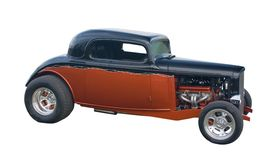 Custom hotrod on white. Retro, custom classic styled hot-rod on white Royalty Free Stock Images