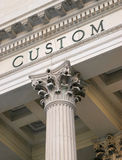 Custom house. Closeup of a custom house with corinthian pillers stock photo