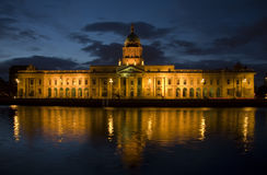 Custom House Dublin. Night shot, dark blue sky, overlooking river Liffey Royalty Free Stock Image