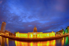 Custom House in Dublin fish-eye Stock Photo