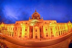 Custom House in Dublin  fish-eye at night. Custom House on the river Liffey in Dublin  fish-eye at night Stock Image