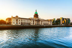The Custom house in Dublin, Ireland in the evening. Dublin, Ireland. The Custom house in Dublin, Ireland in the evening with reflection in the river Royalty Free Stock Images