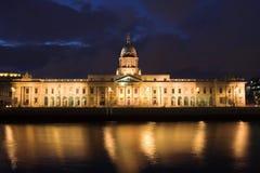 Custom House at Dusk. The Custom House at dusk, a neoclassical 18th century building in Dublin, Ireland Stock Photo