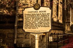 Custom house historical marker Nashville Stock Image