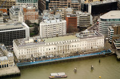 Custom House, London, from above. View from a tall building of the historic Custom House in the City of London.  Formerly home to Customs Officers operating in Stock Photos