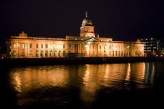 Custom house at night Stock Images