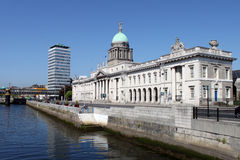Custom House Quay Dublin. A view from a bridge of the famous Customs House and Liberty Hall, Irelands tallest building Stock Photography