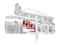 Custom House and Sale Real Estate Sign Drawing on White Stock Images