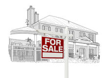 Custom House and Sale Real Estate Sign Drawing on White royalty free illustration