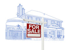 Custom House and Sale Real Estate Sign Drawing on White Royalty Free Stock Photo