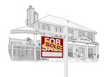 Custom House and Sold Real Estate Sign Drawing on White Royalty Free Stock Photography