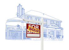 Custom House and Sold Real Estate Sign Drawing on White vector illustration