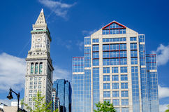 Custom House Tower, Boston. Custom House Tower against a scenic blue sky, Boston royalty free stock photo