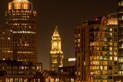 Custom House Tower Among Boston Skyline. Shines at night stock photos