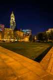 The Custom House Tower and Rose Fitzgerald Kennedy Greenway at n Royalty Free Stock Images