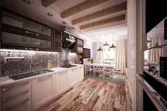 Custom Kitchen. 3d model kitchen in the house Stock Images