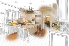 Custom Kitchen Design Drawing and Brushed Photo Combination. Beautiful Custom Kitchen Design Drawing and Brushed In Photo Combination vector illustration