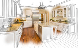 Custom Kitchen Design Drawing and Brushed Photo Combination vector illustration