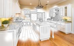 Custom Kitchen Design Drawing and Brushed Photo Combination. Beautiful Custom Kitchen Design Drawing and Brushed In Photo Combination royalty free illustration