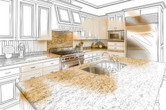 Custom Kitchen Design Drawing and Brushed Photo Combination. Beautiful Custom Kitchen Design Drawing and Brushed In Photo Combination stock illustration