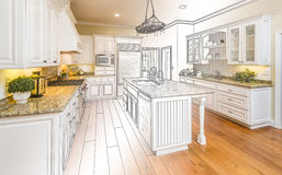 Custom Kitchen Design Drawing and Gradated Photo Combination. Beautiful Custom Kitchen Design Drawing and Gradated Photo Combination Stock Photo