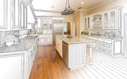 Custom Kitchen Design Drawing and Gradated Photo Combination. Beautiful Custom Kitchen Design Drawing and Gradated Photo Combination Royalty Free Stock Photo