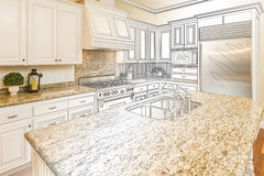 Custom Kitchen Design Drawing and Gradated Photo Combination. Beautiful Custom Kitchen Design Drawing and Gradated Photo Combination Royalty Free Stock Image