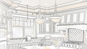 Custom Kitchen Drawing Panning to Reveal Finished Design. Beautiful Custom Kitchen Line Drawing Panning Back to Transition Into A Finished Design