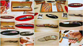 Custom knife show 2015 in jersey city usa. Featuring the worlds top knife makers the show in Jersey  attracted attention of many people from different states of Royalty Free Stock Images
