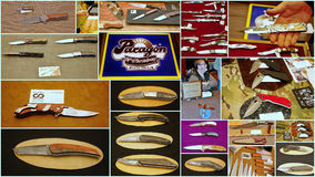 Custom knife show 2015 in jersey city usa. Featuring the world's top knife makers the show in Jersey  attracted attention of many people from different states of Royalty Free Stock Photo