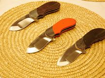 Custom knives different blades and handles Royalty Free Stock Photo